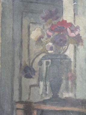 Image of painting Still Life, Flowers on mantleshelf