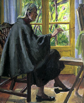 Image of painting Portrait of Vanessa Bell painting in front of the French Windows at La Souco