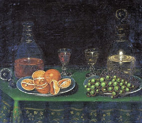 Image of painting Still life of fruit with decanters and glasses