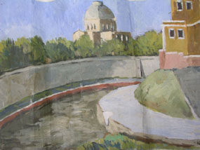 Image of painting Townscape with river and church in the background