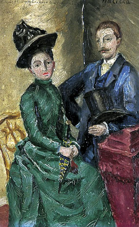 Image of painting Man standing beside seated woman, both in 19th century dress