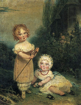 Image of painting Portrait of two girls in a landscape