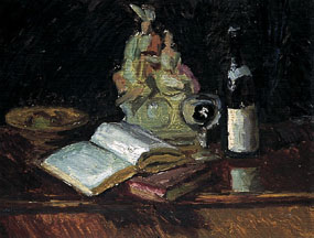 Image of painting A still life with Staffordshire figure and wine bottle