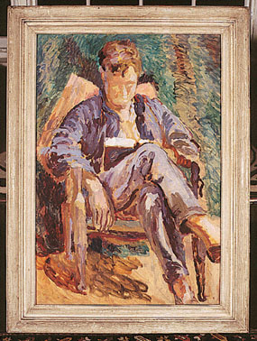 Image of painting Julian Bell reading