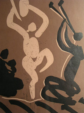 Image of linocut Mother, dancer and musician