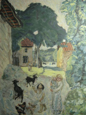 Image of print Mother and Children in farmyard with goats