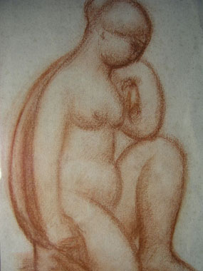 Image of drawing Kneeling female nude