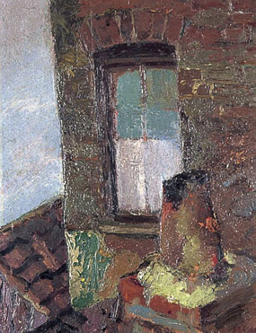 Image of painting Chimney pot and window