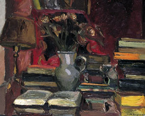 Image of painting still life with books, lamp and jug of flowers