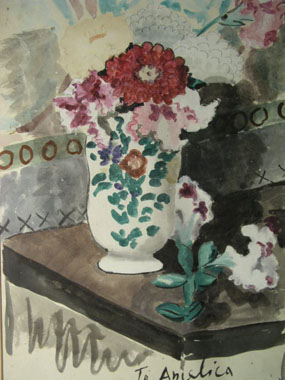 Image of watercolour Still life with vase of flowers