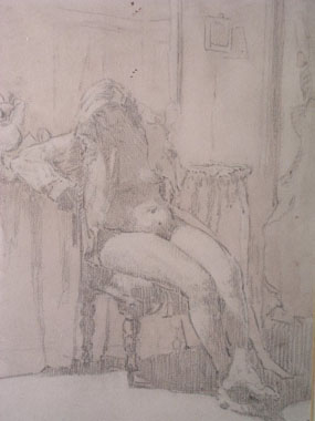Image of drawing Woman in a bedroom