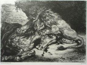 Image of engraving Lion devouring an Arab horse