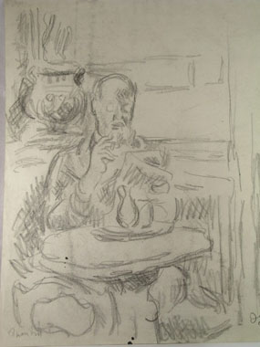 Image of drawing Quentin Bell seated at a cafe table in England
