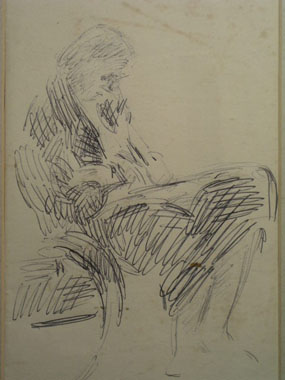 Image of drawing Vanessa Bell sitting in the bentwood chair in the studio at Charleston