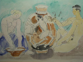 Image of watercolour Greek Figures
