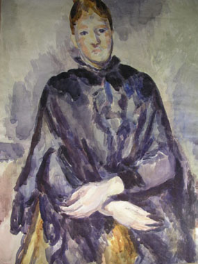 Image of watercolour Madame Cezanne in a shawl