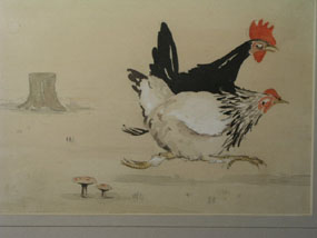 Image of watercolour Cocks and Hens