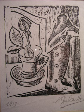 Image of woodcut Still life with tailor's dummy