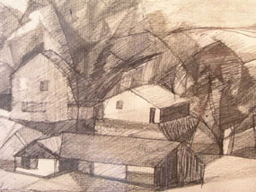 Image of drawing Landscape with farm buildings