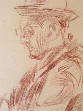 Image of drawing Study of a man in a hat