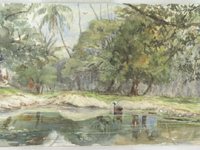 Image of watercolour Lake in a landscape
