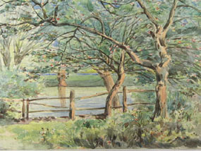 Image of watercolour Lake scene