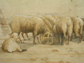 Image of watercolour Sheep Grazing