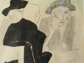 Image of drawing Three figures in a cafe