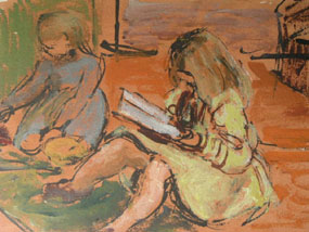 Image of painting Two girls on the floor
