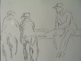 Image of drawing Three figures by a wall - Toulon
