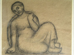 Image of drawing Seated female figure