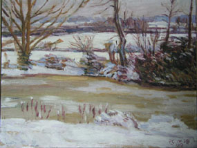 Image of painting The pond at Charleston in winter
