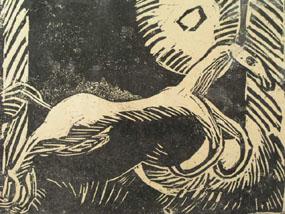 Image of woodcut Prancing Horse