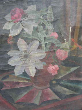 Image of painting Vase of Flowers on a Painted Table