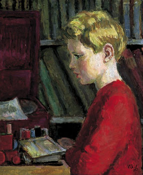 Image of painting profile portrait of a child