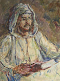painting Hooded man reading [Click here to see more information about this item]