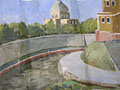 painting Townscape with river and church in the background [Click here to see more information about this item]