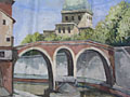 painting Townscape with river in foreground and church in the background [Click here to see more information about this item]
