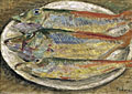 painting Still life-three fish on a plate [Click here to see more information about this item]