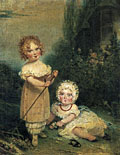 painting Portrait of two girls in a landscape [Click here to see more information about this item]