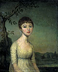 painting Portrait of young woman in landscape [Click here to see more information about this item]