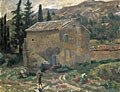painting French landscape with house [Click here to see more information about this item]