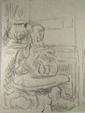 drawing Quentin Bell seated at a cafe table in England [Click here to see more information about this item]