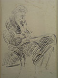drawing Vanessa Bell sitting in the bentwood chair in the studio at Charleston [Click here to see more information about this item]