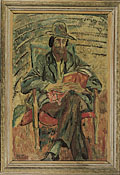 painting Portrait of Lytton Strachey reading [Click here to see more information about this item]