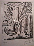 woodcut Still life with tailor's dummy [Click here to see more information about this item]