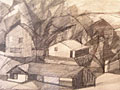 drawing Landscape with farm buildings [Click here to see more information about this item]