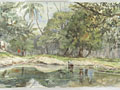 watercolour Lake in a landscape [Click here to see more information about this item]