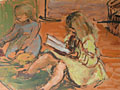 painting Two girls on the floor [Click here to see more information about this item]