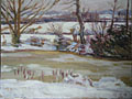 painting The pond at Charleston in winter [Click here to see more information about this item]